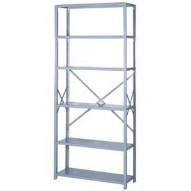 """Lyon Steel Shelving 20 Gauge 42""""W x 18""""D x 84""""H Open Style 6 Shelves Gy Starter"""