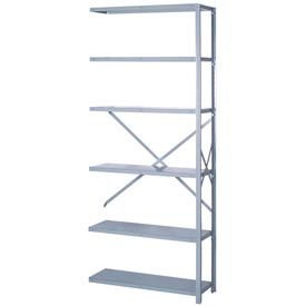 "Lyon Steel Shelving 20 Gauge 42""W x 24""D x 84""H Open Style 6 Shelves Gy Add-On"