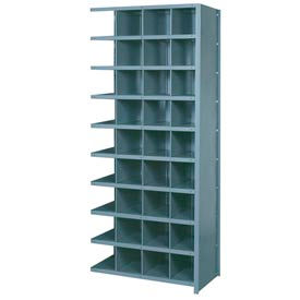 "Lyon Shelving Add-On DD8101H - 36 Compartment 10 Heavy-Duty Shelves, 36""Wx18""Dx84""H Gray"