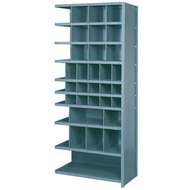 """Lyon Shelving Add-On DD8121 - 38 Compartment 10 Traditional Shelves, 36""""Wx18""""Dx84""""H Gray"""