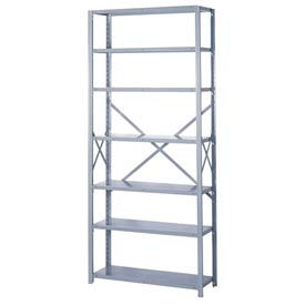 "Lyon Steel Shelving 20 Gauge 48""W x 18""D x 84""H Open Style 7 Shelves Gy Add-On"