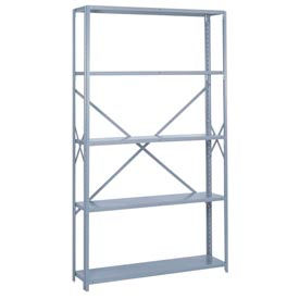 "Lyon Steel Shelving 48""W x 18""D x 84""H Open Offset Angle Style 5 Shelves Gy Starter"