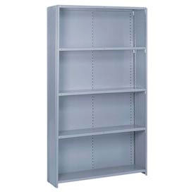 "Lyon Steel Shelving 48""W x 18""D x 84""H Closed Offset Angle Style 5 Shelves Gy Starter"