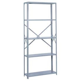 "Lyon Steel Shelving 36""W x 18""D x 84""H Open Offset Angle Style 6 Shelves Gy Starter"