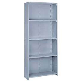 "Lyon Steel Shelving 36""W x 18""D x 84""H Closed Offset Angle Style 6 Shelves Gy Starter"
