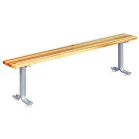 """Lyon Locker Bench Hardwood Top w/Aluminum Pedestals NF5788 - 96""""W x 9-1/2""""D x 18""""H"""