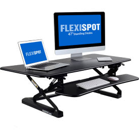 """FlexiSpot Adjustable Sit-Stand Desktop Workstation with 47""""W Riser Platform - Black"""