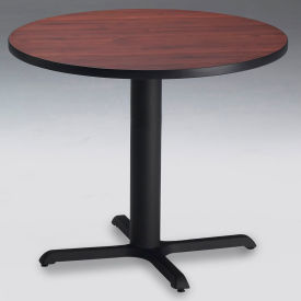 """Safco® 30"""" Round Dining Height Table - Regal Mahogany with Black Base - Bistro Series"""