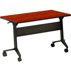 """Safco® Training Table with Flip Top - 72"""" x 18"""" - Biltmore Cherry - Flip-N-Go Series"""