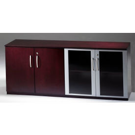 Mayline Corsica Series Low Wall Cabinet with Doors with Wood/Glass Door Combination Mahogany by