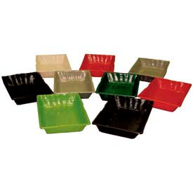 "Smooth Baskets W/ Holes, 10-1/2""L x 14-3/4""W x 2""H, Plastic, Black"