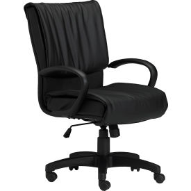 Mid-Back Executive Leather Desk Chair - Black