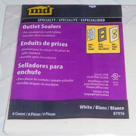 M-D Outlet Closed-Cell Foam Sealer, 87916, White, 6/Pack