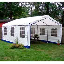 14'W x 20'L x 9'H Party Tent, White With Blue Trim