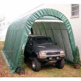 Green 14'W x 30'L x 12'H Round Portable Shelter by