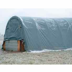Gray 14'W x 30'L x 12'H Round Portable Shelter