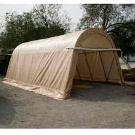 Tan 14'W x 30'L x 12'H Round Portable Shelter by