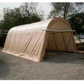 Tan 14'W x 30'L x 12'H Round Portable Shelter