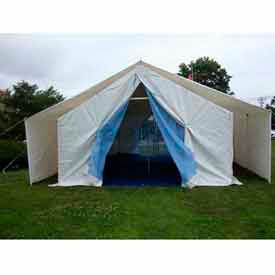 18'W x 32'L x 15'H UN Disaster Relief Tent, White With Blue Trim