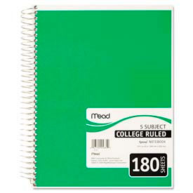 Spiral Bound 5-Subject College Ruled Notebook, 8 x 10-1/2, 180 Sheets