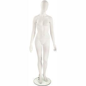 UBF-1-109 Female Mannequin - Oval Head, Arms at Side, Left Leg Slightly Bent -White