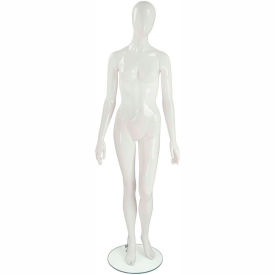 UBF-1-H1-144 Female Mannequin - Oval Head, Arms by Side, Left Leg Slightly Bent-White