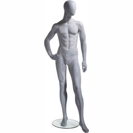 UBM-3 Male Mannequin - Oval Head, Right Hand on Hip, Left Leg Slightly Bent -Natural