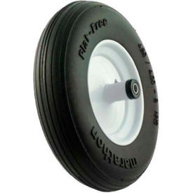 "Marathon 00001 4.80/4.00-8 Flat Free Wheelbarrow Tire Ribbed Tread - 6"" Centered - 5/8"" Bearings"