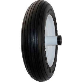 """Marathon 00003 3.50/2.50-8 Flat Free Wheelbarrow Tire - Ribbed Tread - 6"""" Centered - 5/8"""" Bearings"""