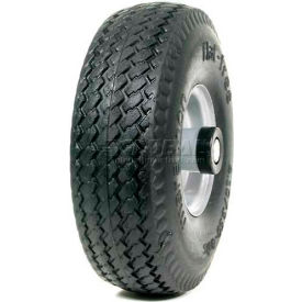 "Marathon 00011 4.10/3.50-4 Hand Truck Tire Sawtooth Tread Flat Free - 2.25"" Offset - 3/4"" Bearings"