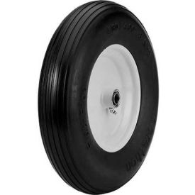 "Marathon 00063 4.80/4.00-8 Ribbed Tread Flat Free Cart Tire - 3"" Centered - 3/4"" Bearings"