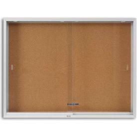 "Marsh Cork 2 Door Enclosed Cork Bulletin Board, 96""W x 48""H, Natural"