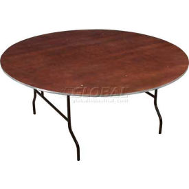 Midwest Folding Round Plywood Stained Top Banquet Table 48