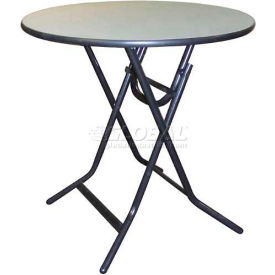 "Midwest - ABS Surface Round Table, X Folding, 30""D x 30""H - Textured Gray"