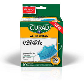 Curad® BioMask Antiviral Isolation Masks, Pleated, Blue, 10/Box