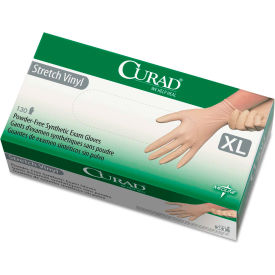 Curad® Medical/Exam Synthetic Vinyl Gloves, 5.1 Mil, Powder-Free, X-Large, White, 130/Box