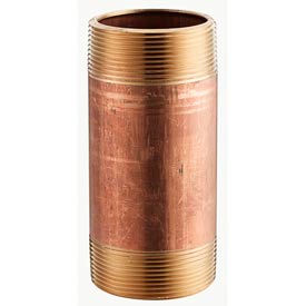 3/8 In. X 6 In. Lead Free Red Brass Pipe Nipple - 140 PSI - Import - Pkg Qty 25