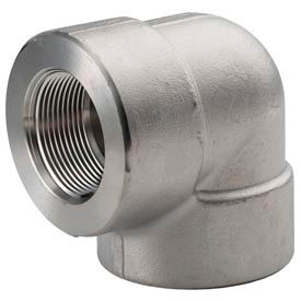 "Ss 304/304l Forged Pipe Fitting 1-1/4"" 90 Degree Elbow Npt Female - Pkg Qty 3"