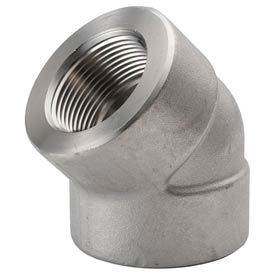 """Ss 304/304l Forged Pipe Fitting 3/8"""" 45 Degree Elbow Npt Female - Pkg Qty 7"""