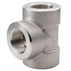 """Ss 304/304l Forged Pipe Fitting 3/4"""" Tee Npt Female - Pkg Qty 5"""