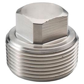 "Ss 304/304l Forged Pipe Fitting 1-1/4"" Square Head Plug Npt Male - Pkg Qty 8"