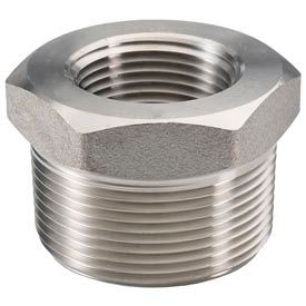 "Ss 316/316l Forged Pipe Fitting 1-1/2 X 3/8"" Hex Bushing Npt Male X Female - Pkg Qty 5"