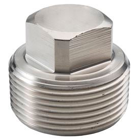 "Ss 316 Barstock Square Head Plug 1"" Npt Male - Pkg Qty 9"
