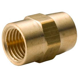 "Brass Yellow Barstock 1/4"" Coupling Npt Female - Pkg Qty 50"