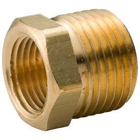 "Brass Yellow Barstock 3/8"" X 1/4"" Hex Bushing Npt Male X Female - Pkg Qty 75"