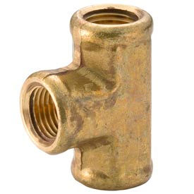"Brass Yellow Barstock 1/4"" Tee Npt Female - Pkg Qty 25"