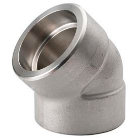 """Ss 304/304l Forged Pipe Fitting 1-1/2"""" 45 Degree Elbow Socket Weld - Pkg Qty 3"""