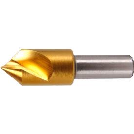 "1"" Dia., 1/2"" Shank, 2-3/4"" OAL, 90°, Single Flute Single End Countersink, Cobalt, TiN"