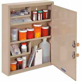 "STEELMASTER® Medical Security Cabinet, 14""W x 3-1/8""D x 17-1/8""H, 2 Key Locks, Sand"