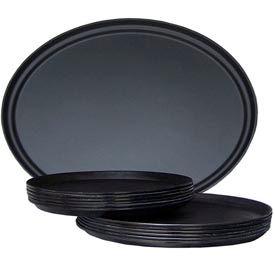 """Molded Fiberglass 16"""" Round Non-Slip Serving Tray 310008, Black, Pkg Qty 12 - Pkg Qty 12"""